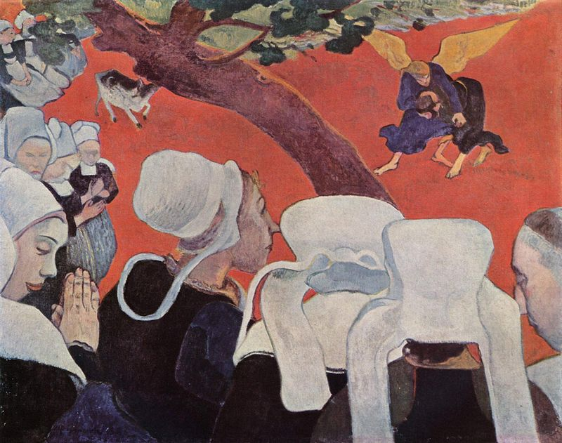 Paul Gauguin, <em>The Vision after the Sermon (Jacob Wrestlling with the Angel)</em>, 1888, oil on canvas, 72x91cm. National Gallery of Scotland, Edinburgh.